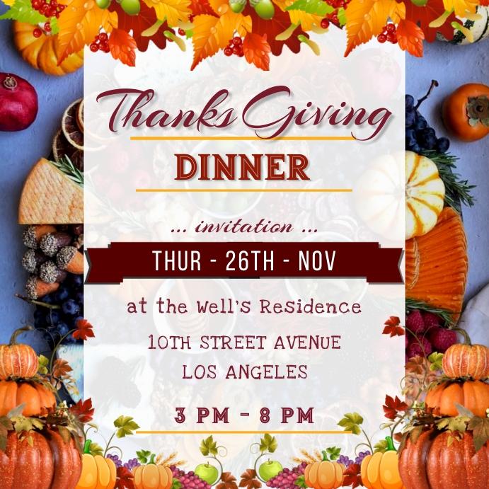 Thanks giving Day Dinner Celebration Poster template