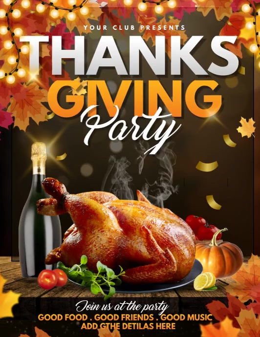 thanks giving flyers,event flyers,party flyer Folder (US Letter) template