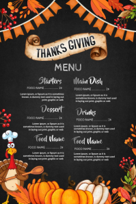 thanks giving menu Affiche template