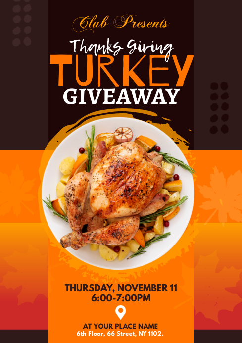 Thanks Giving Turkey Giveaway Flyer A4 template