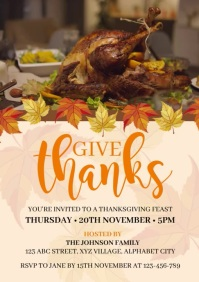Thanksgivin Party Invitation A4 template