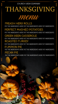 thanksgiving digital display, thanksgiving dinner menu Цифровой дисплей (9 : 16) template