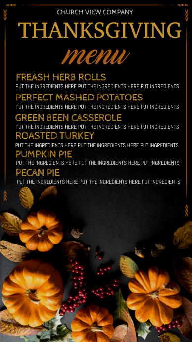 thanksgiving digital display, thanksgiving dinner menu