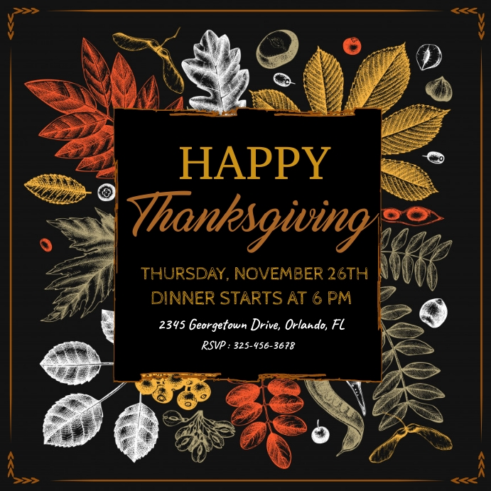 thanksgiving, thanksgiving dinner โพสต์บน Instagram template