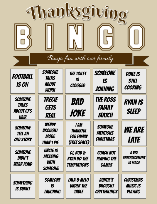 Thanksgiving Bingo Pamflet (VSA Brief) template