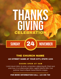 Thanksgiving Celebration Church Flyer Templat