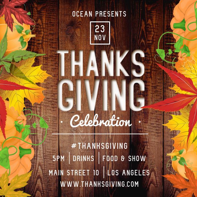 Thanksgiving Celebration Square Image Publicación de Instagram template