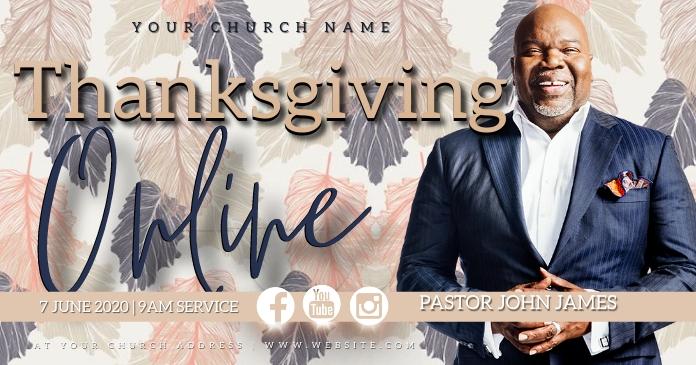thanksgiving Church ONLINE Event Template Ibinahaging Larawan sa Facebook