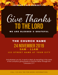 Thanksgiving Church Service Flyer Design Template