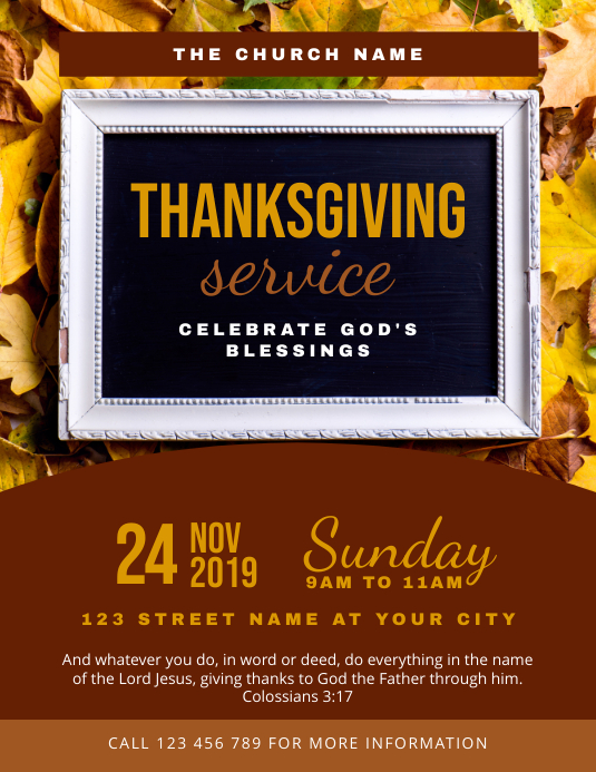 Thanksgiving Church Service Template
