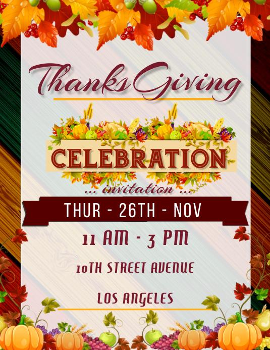 Thanksgiving Day DINNER Celebration Poster ใบปลิว (US Letter) template