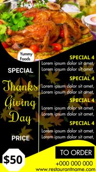 Thanksgiving day Menu Digital Display (9:16) template
