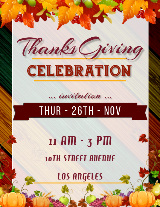 Thanksgiving Day Party Celebration Poster ใบปลิว (US Letter) template