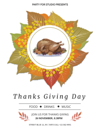 Thanksgiving Day Party Flyer Folder (US Letter) template