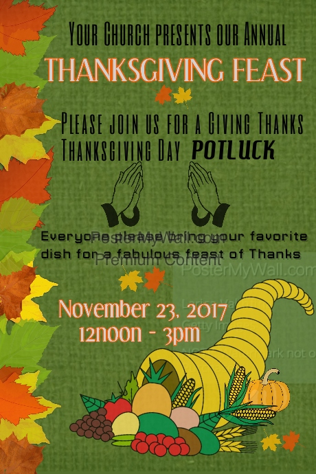 thanksgiving day potluck flyer template postermywall