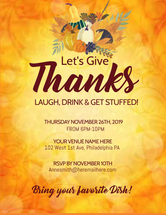 thanksgiving Flyer (format US Letter) template