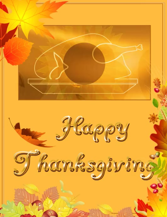 Thanksgiving Løbeseddel (US Letter) template