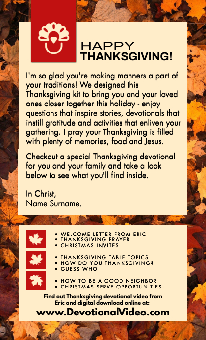 Thanksgiving Devotional Service Template US Legal