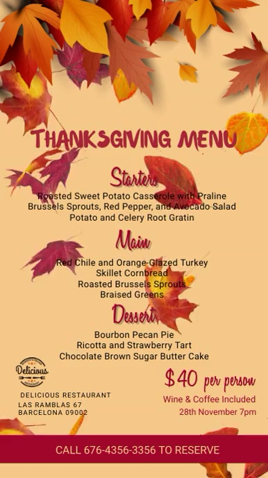 Thanksgiving Digital Menu Template