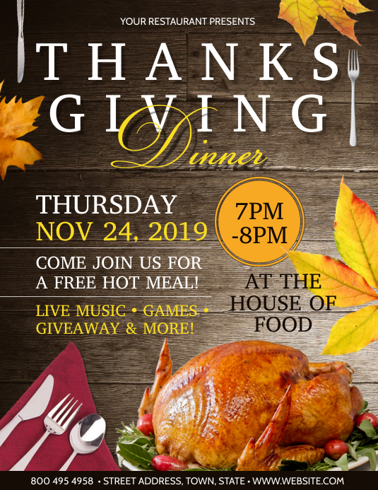 THANKSGIVING DINNER Flyer (US-Letter) template