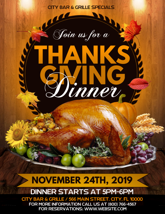 Thanksgiving Dinner Flyer (format US Letter) template