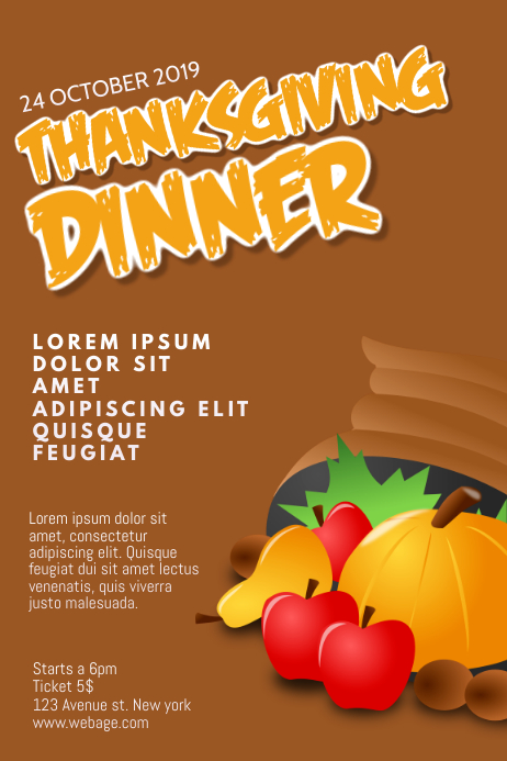 Thanksgiving Dinner Flyer Design Template