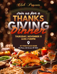 Thanksgiving Dinner Flyer Template Løbeseddel (US Letter)