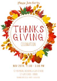 Thanksgiving dinner flyer template free A4