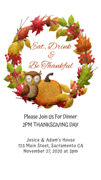 Thanksgiving Dinner Invitation, Eat Drink Be WhatsApp na Status template