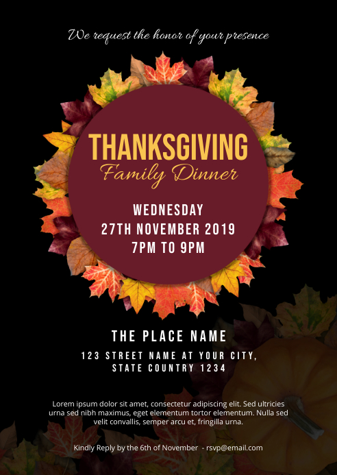 Thanksgiving Dinner Invitation A6 template