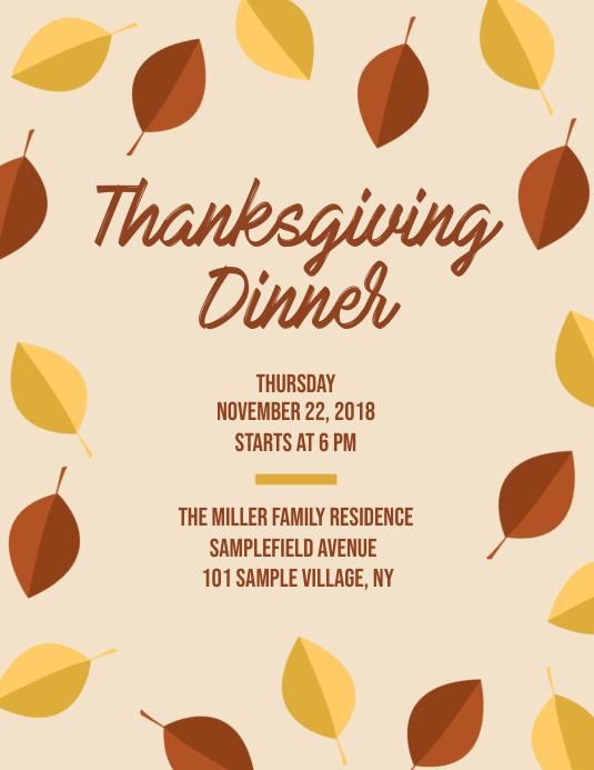 Copy Of Thanksgiving Dinner Invitation Flyer Postermywall