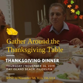 Thanksgiving Dinner Invitation Square Video