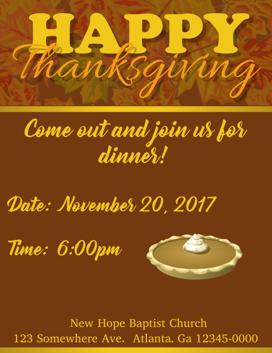 thanksgiving dinner invite template postermywall