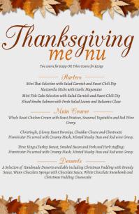 thanksgiving Dinner Menu Design Template ความกว้างแบบครึ่งหน้า