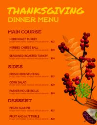 Thanksgiving Dinner Menu Flyer