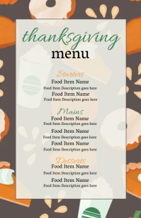 thanksgiving Dinner Menu Template Meia página larga