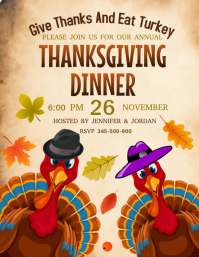 Thanksgiving dinner party Flyer (US Letter) template