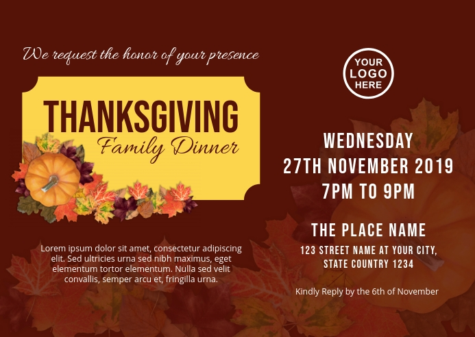 Thanksgiving Dinner Postcard Template