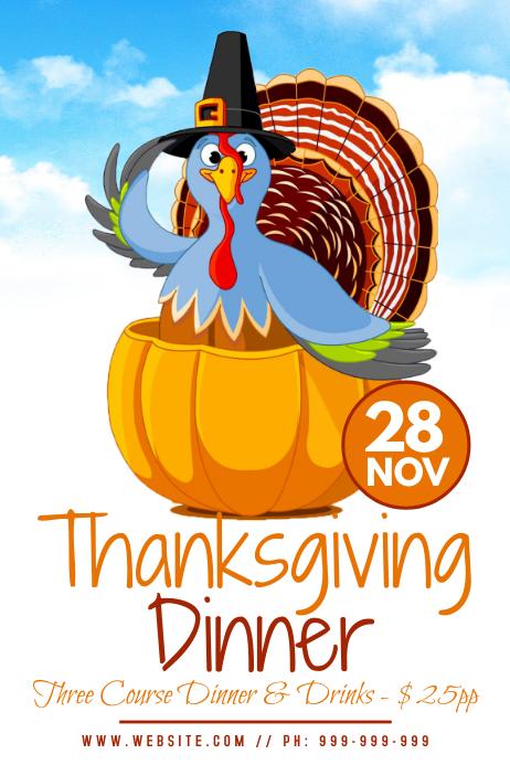 Thanksgiving Dinner Poster Cartaz template