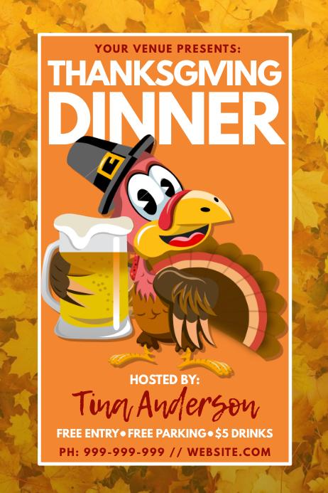 Thanksgiving Dinner Poster Plakat template