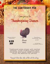 Thanksgiving Dinner Restaurant Menu Flyer Ad template
