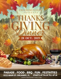 Thanksgiving Dinner Video Flyer (US Letter) template