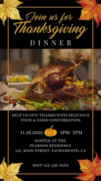 Thanksgiving Dinner Video Invitation WhatsApp-status template