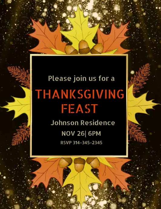 thanksgiving dinner video template Pamflet (Letter AS)