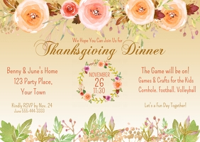 Thanksgiving Dinner Watercolor Pastel Floral Postcard template