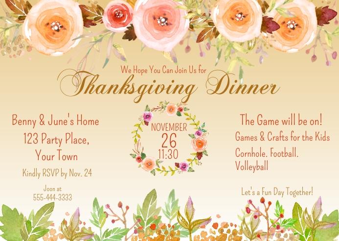 Thanksgiving Dinner Watercolor Pastel Floral Kartu Pos template