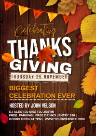 Thanksgiving dj night event A4 template