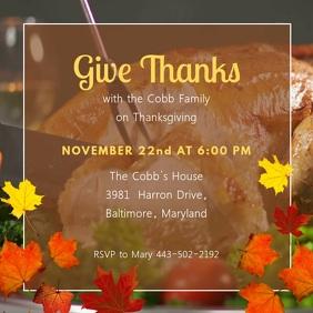 Thanksgiving Family Dinner Video Invitation