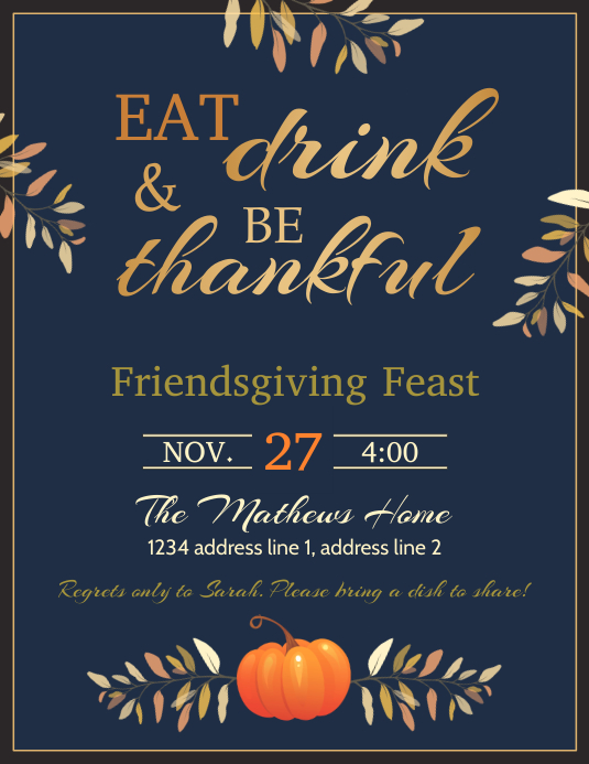 Thanksgiving feast flyer template 传单(美国信函)