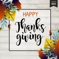 thanksgiving flyer, thanksgiving sale, turkey Quadrato (1:1) template